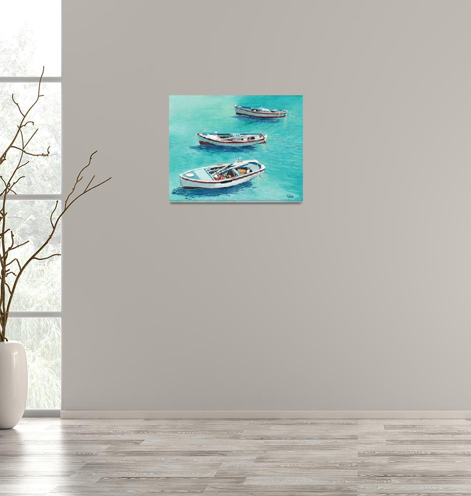 """""""Original oil painting 3 Boats""""  (2018) by yuezeng"""
