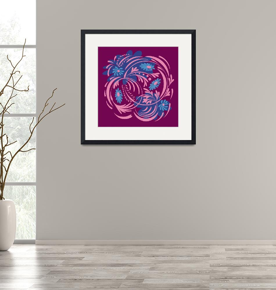 """""""Folk floral print . Abstract flowers art , poster."""" by Eskimos"""