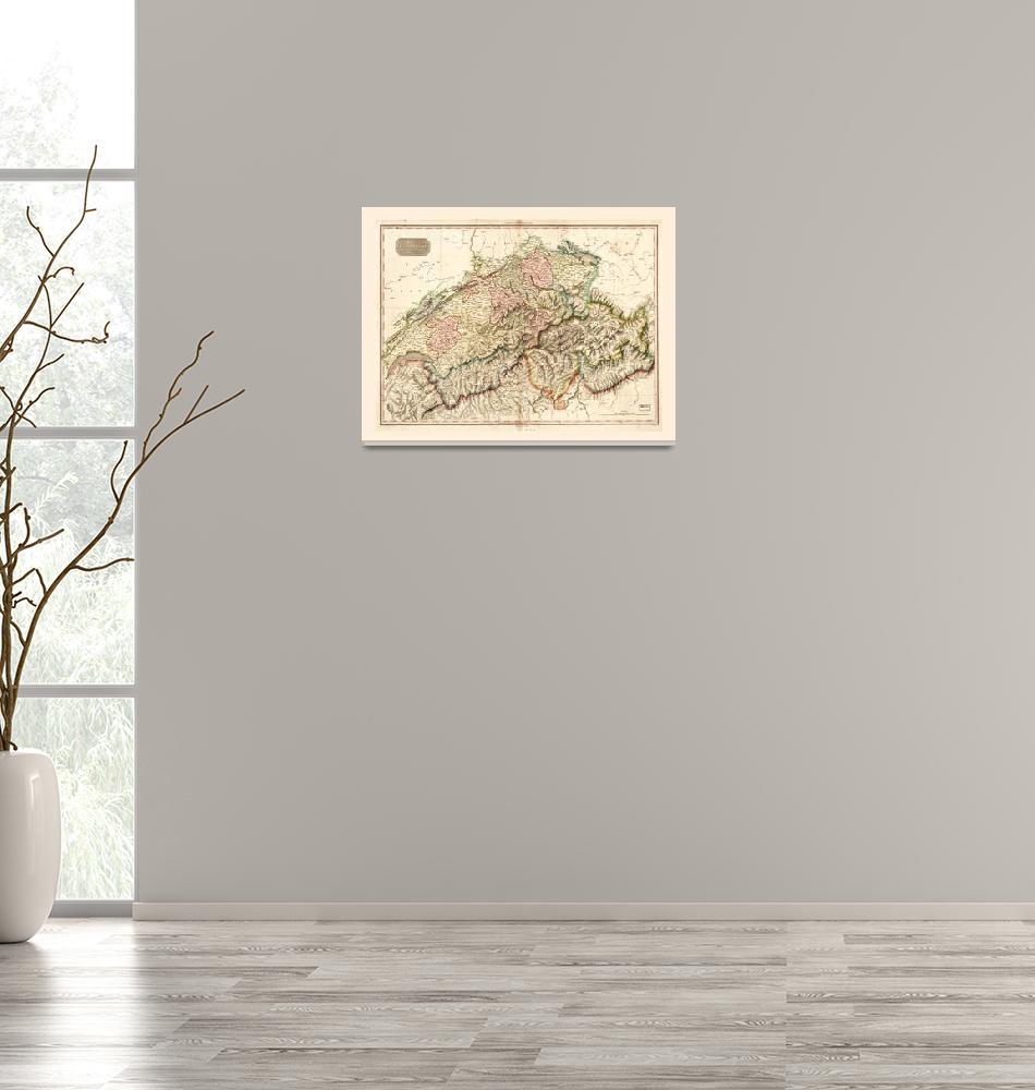 """Switzerland (Swisserland) Map c. 1818""  by ArtHistory"