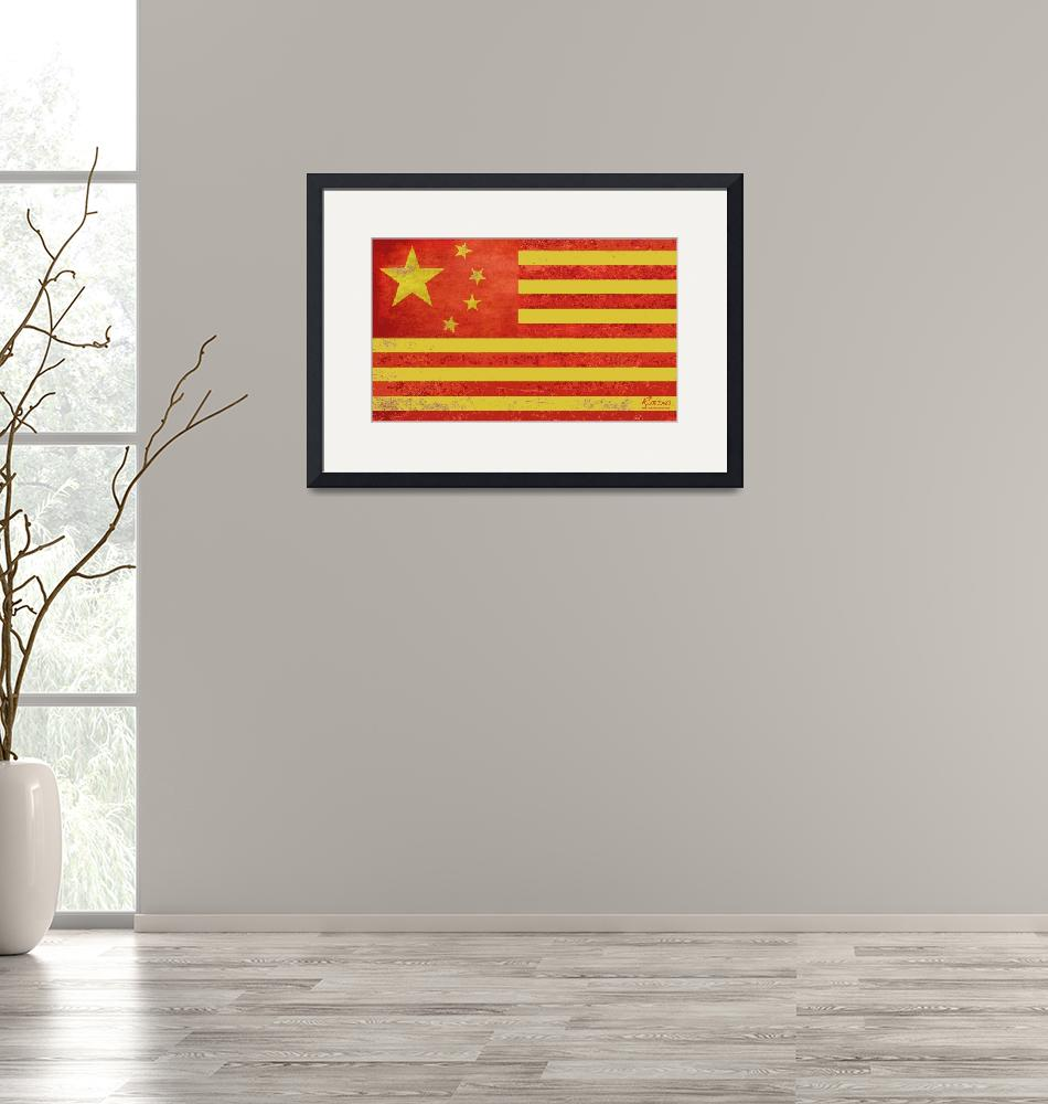 """""""Chinese American Flag""""  by RubinoFineArt"""