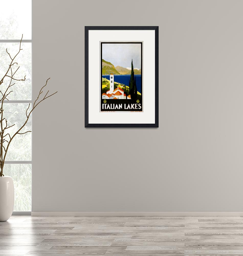 """Italian Lakes Vintage Travel Poster""  by FineArtClassics"