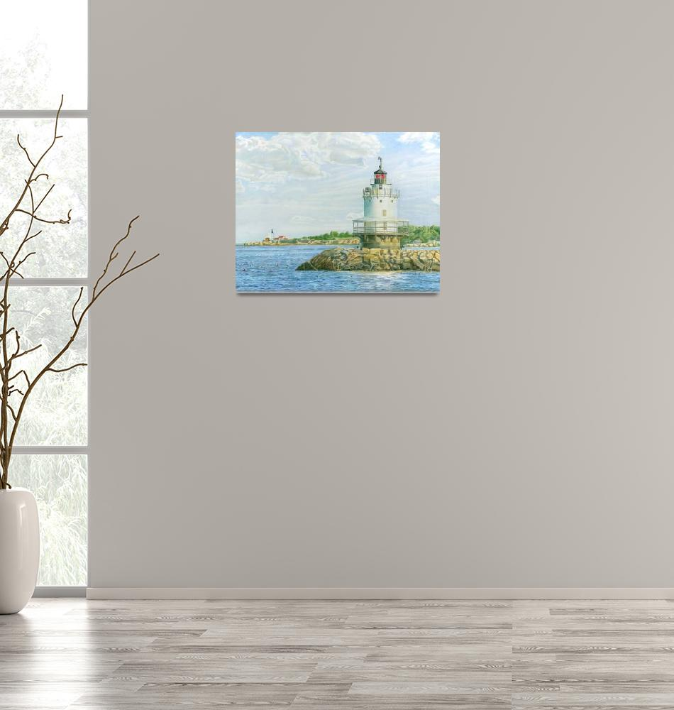"""""""View from Casco Bay Ferry (Spring Point Light)""""  (2013) by dominicwhite"""