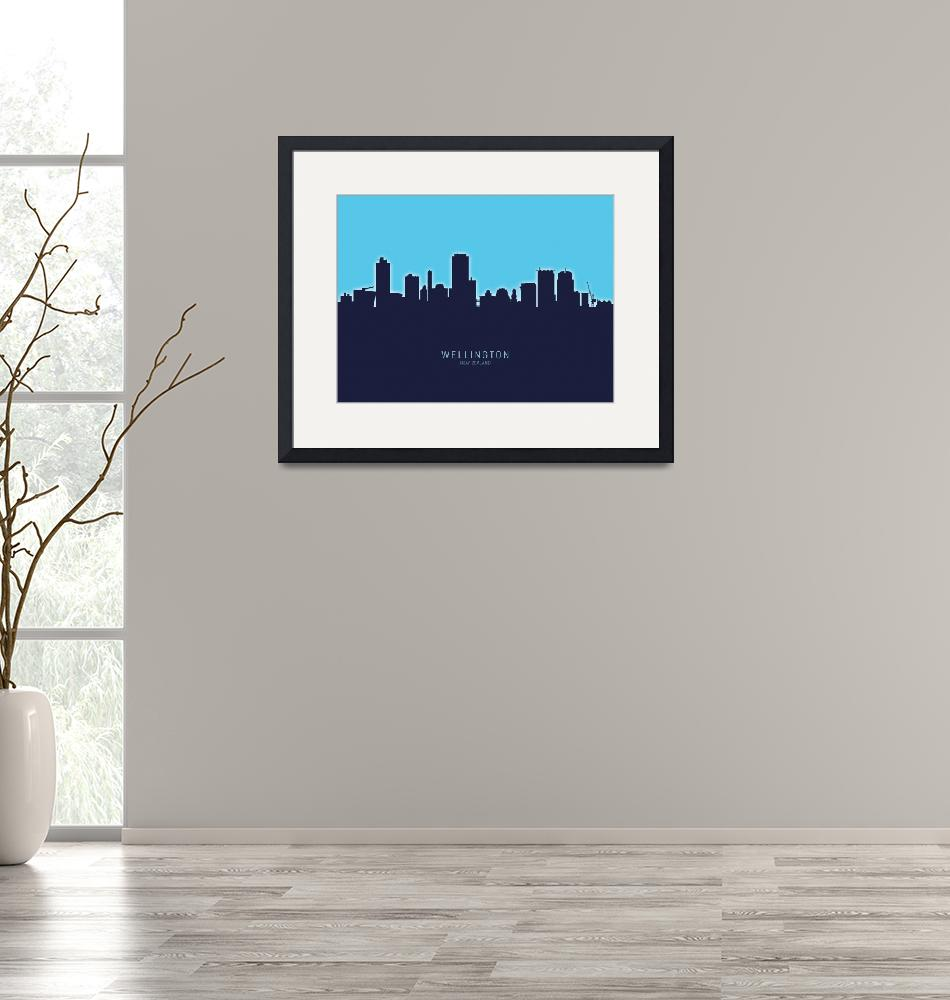 """Wellington New Zealand Skyline""  (2020) by ModernArtPrints"