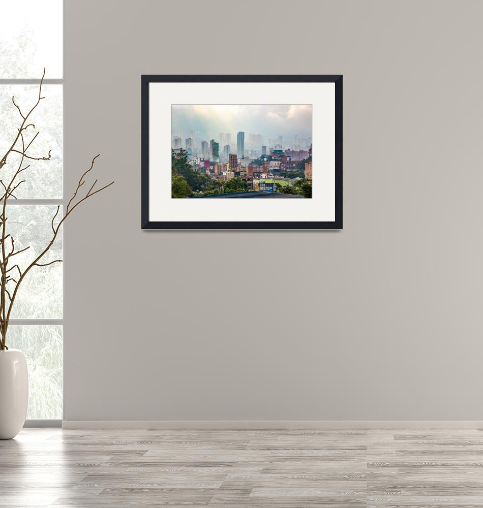 """""""View over the misty Medellin - Colombia""""  (2018) by MichielTon"""