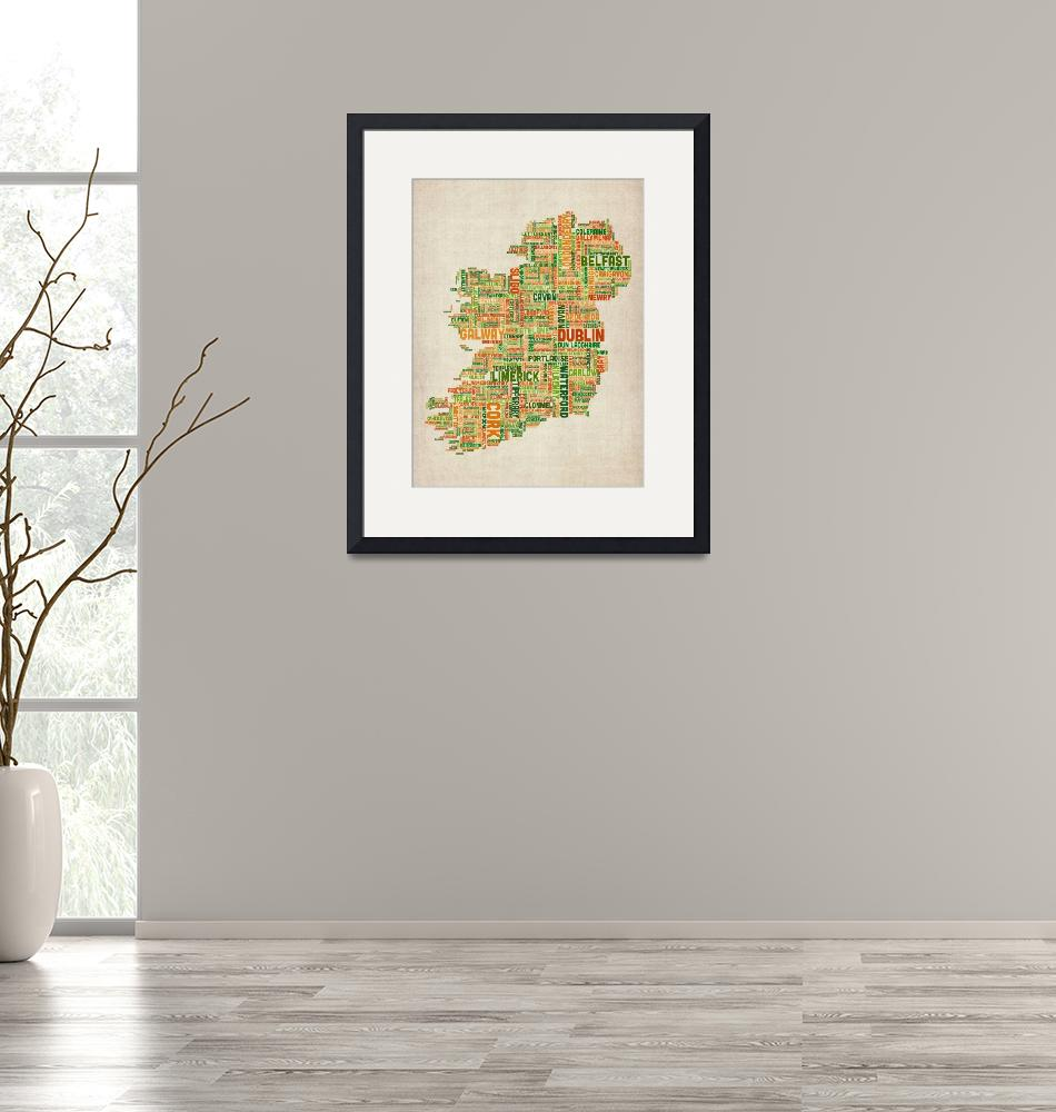 """Ireland Eire City Text Map""  (2012) by ModernArtPrints"