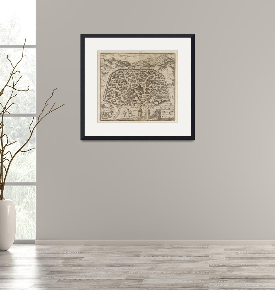 """""""Historical Map of Damascus Syria (1575)""""  by Alleycatshirts"""