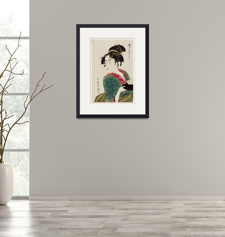 """""""Woman Serving in a Teahouse by Utamaro Kitagawa"""" by FineArtClassics"""