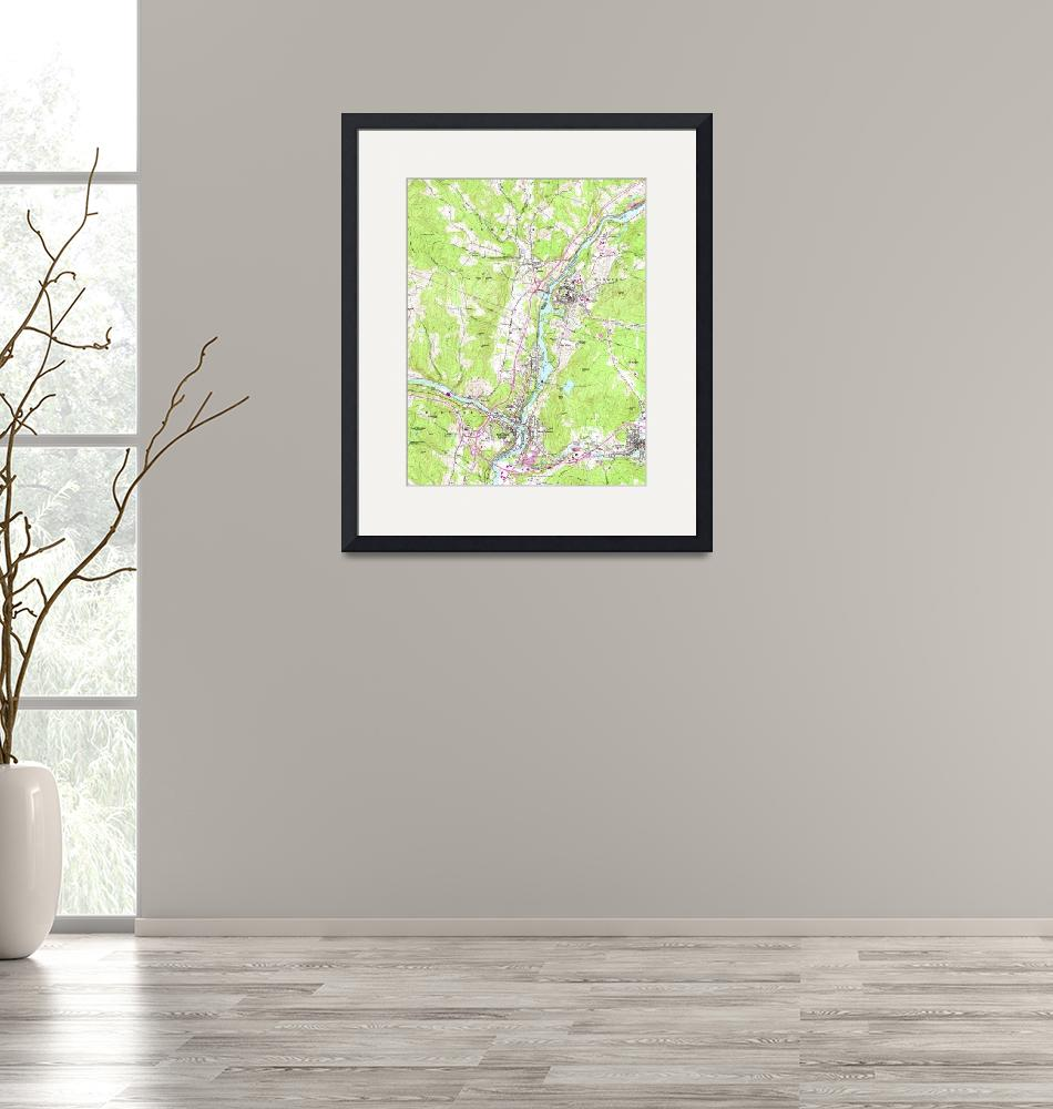"""Vintage Lebanon & Hanover New Hampshire Map (1959)""  by Alleycatshirts"