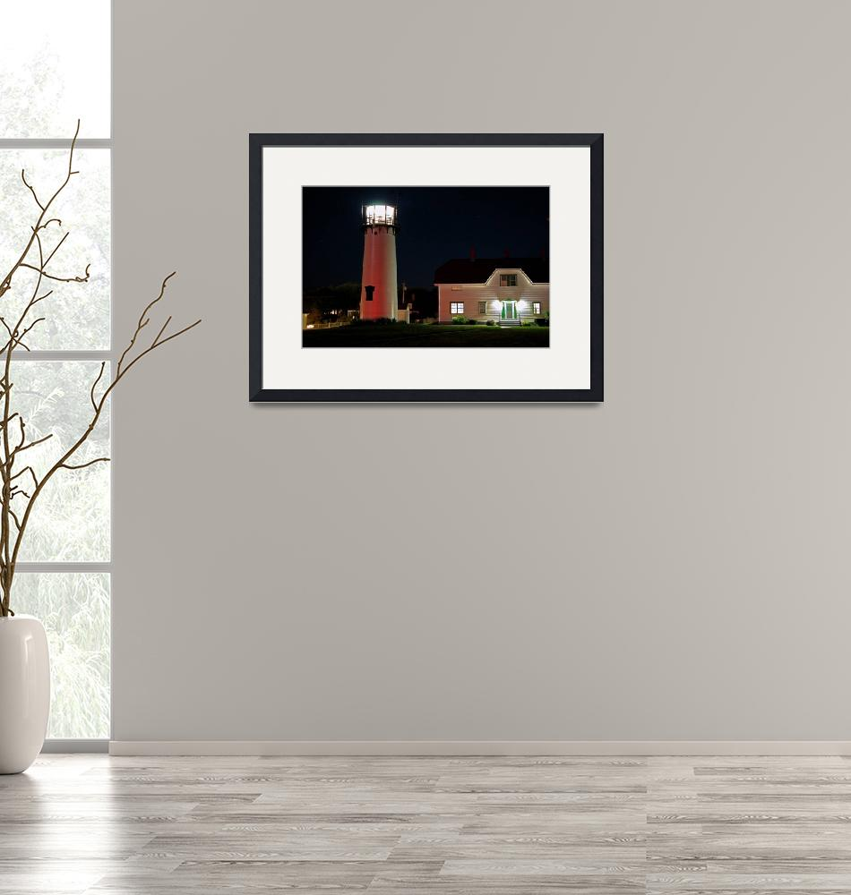 """""""Chatham Lighthouse at Night""""  (2008) by ChrisSeufert"""