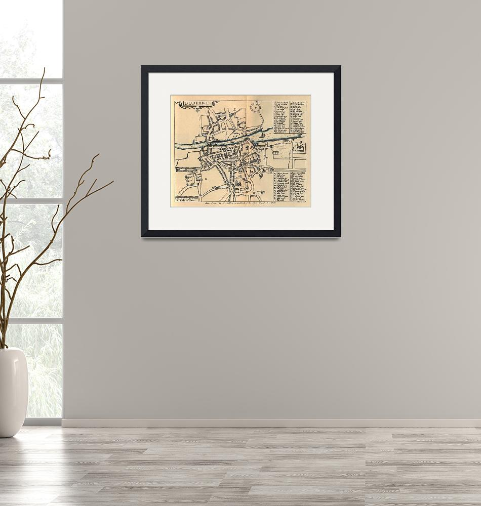 """""""Vintage Map of Dublin Ireland (1610)""""  by Alleycatshirts"""