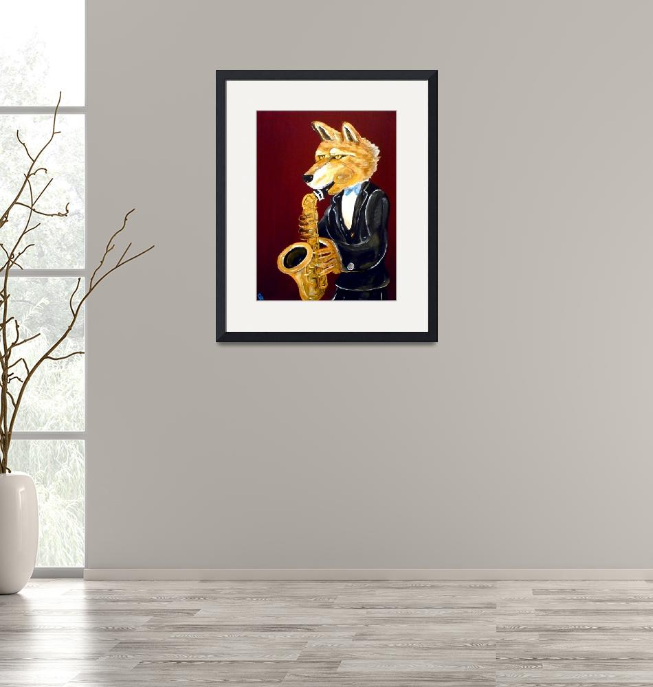 """""""Dire Wolf Playing the Saxophone""""  (2014) by Polylerus"""