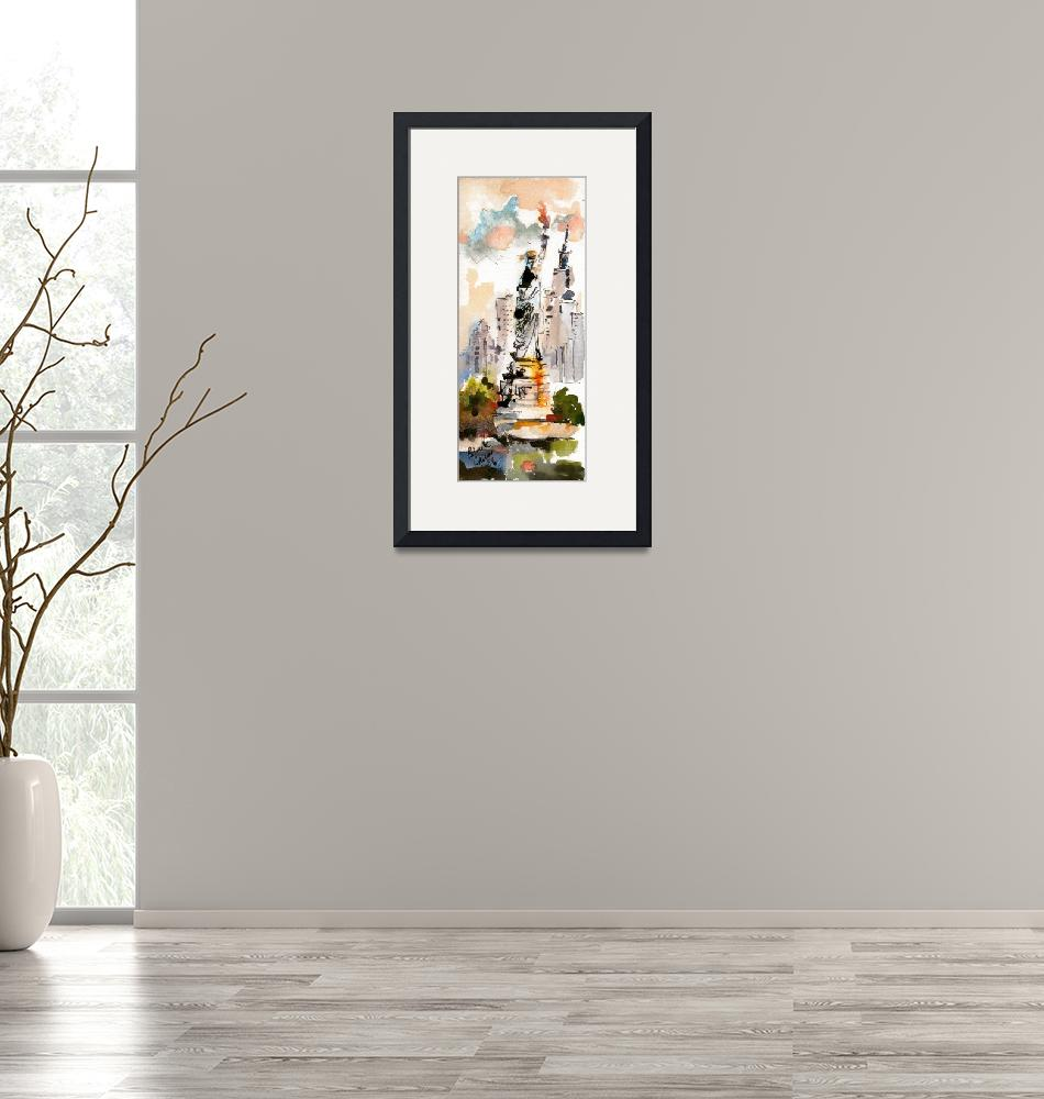 """Statue Of Liberty New York Watercolor by Ginette""  (2006) by GinetteCallaway"