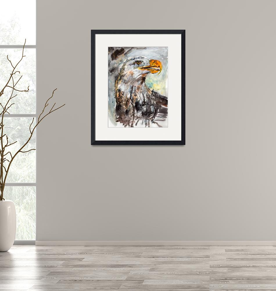 """""""Bald Eagle Wildlife Watercolor""""  (2014) by GinetteCallaway"""
