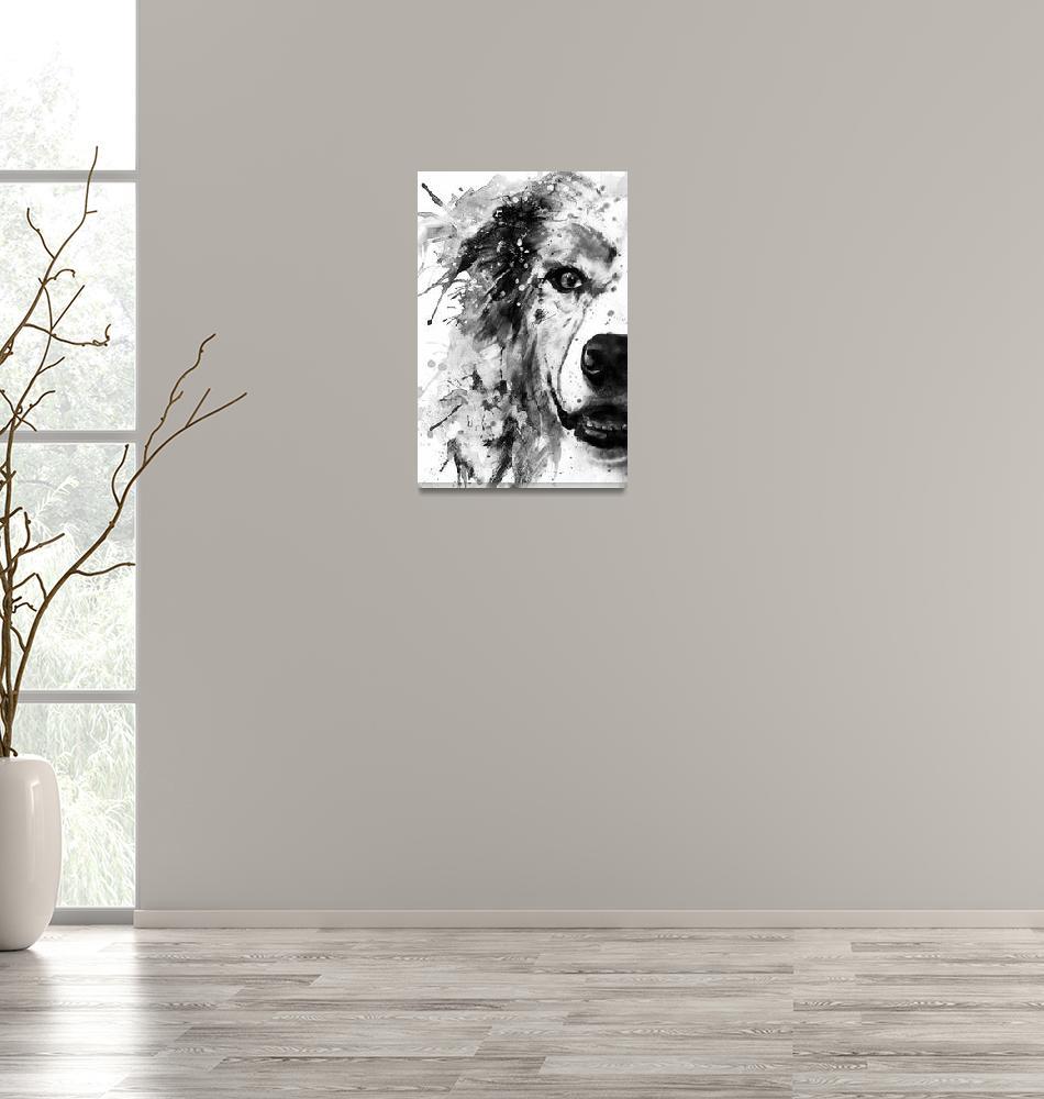 """Australian Shepherd Dog Half Face BW""  (2019) by MarianVoicu"
