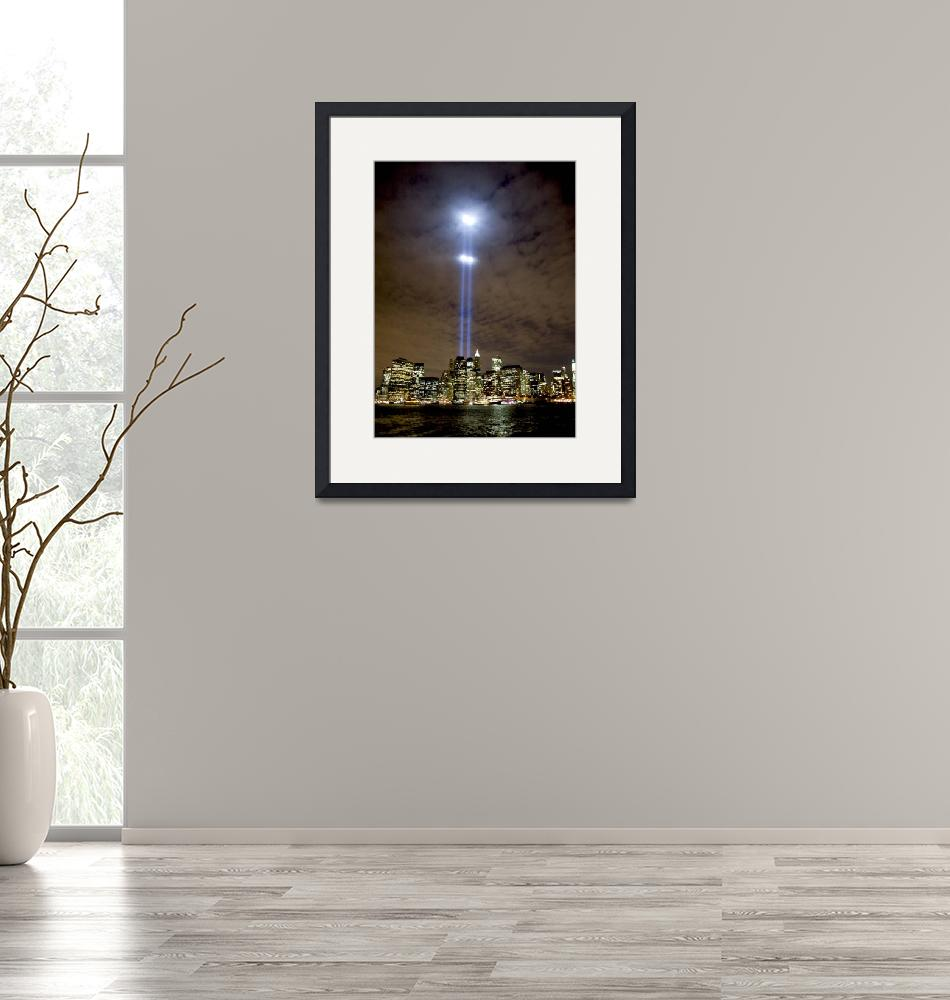 """""""Tribute in Light on September 11 over NYC""""  (2008) by New-Yorkled"""