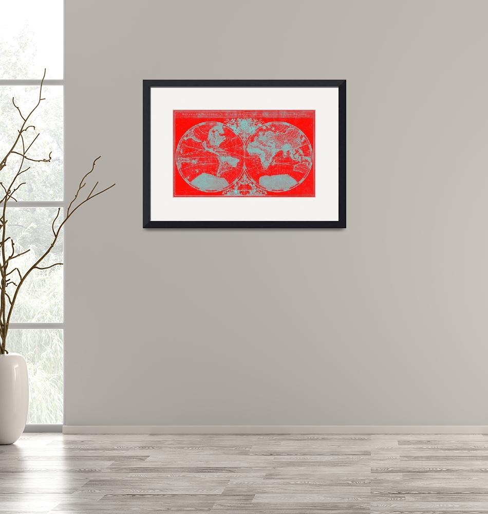 """""""World Map (1691) Red & Light Blue"""" by Alleycatshirts"""