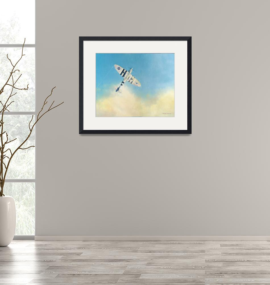 """Spitfire Mark 9 Climbing Out Of Clouds""  (2015) by DNCartist"