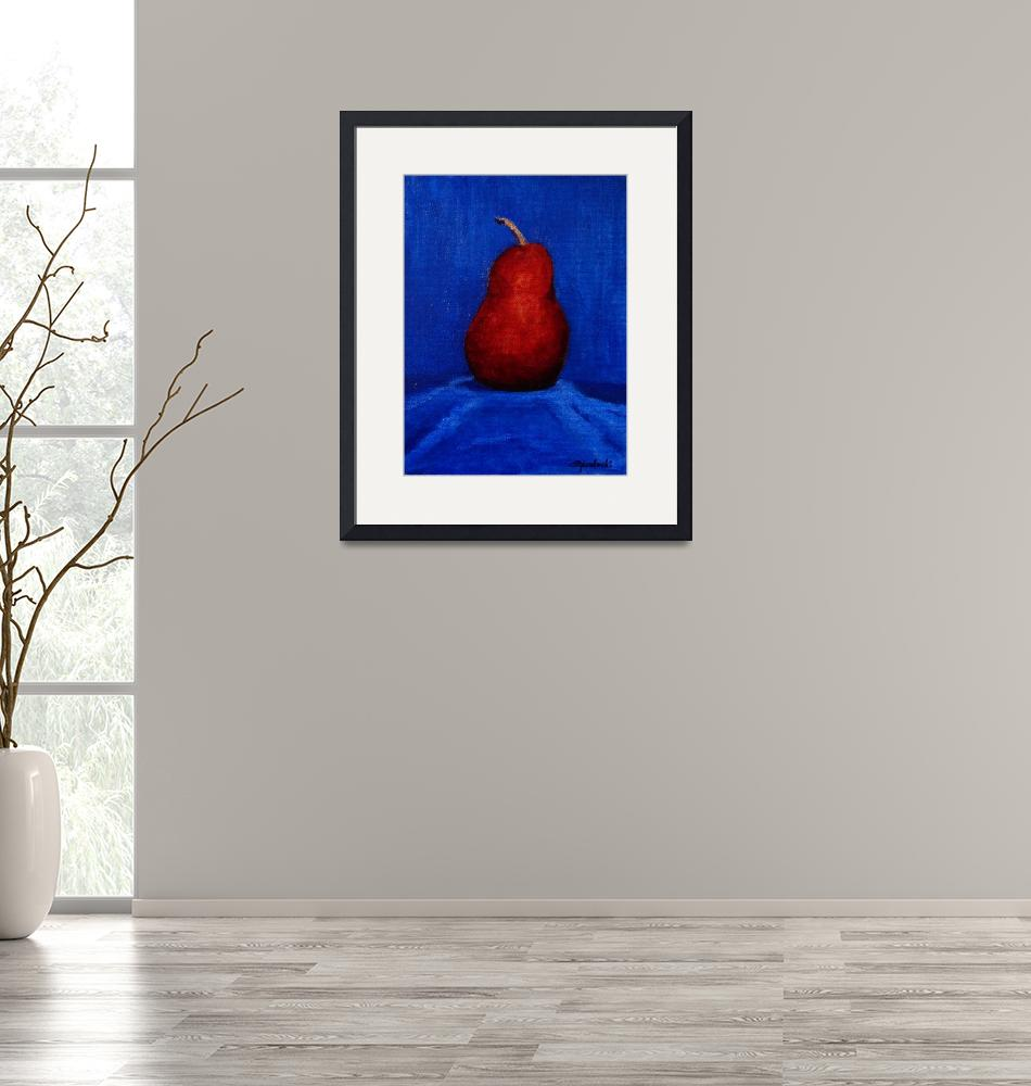 """""""Red Pear on Blue""""  (2015) by SusanYankoski"""