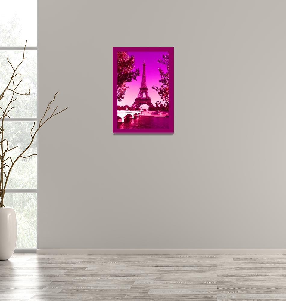 """""""Eiffel Tower Paris France Decorative with Border""""  (2013) by TheNorthernTerritory"""
