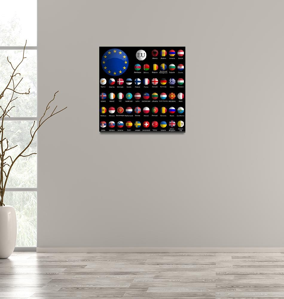 """""""europe glossy icons collection against black""""  by robertosch"""