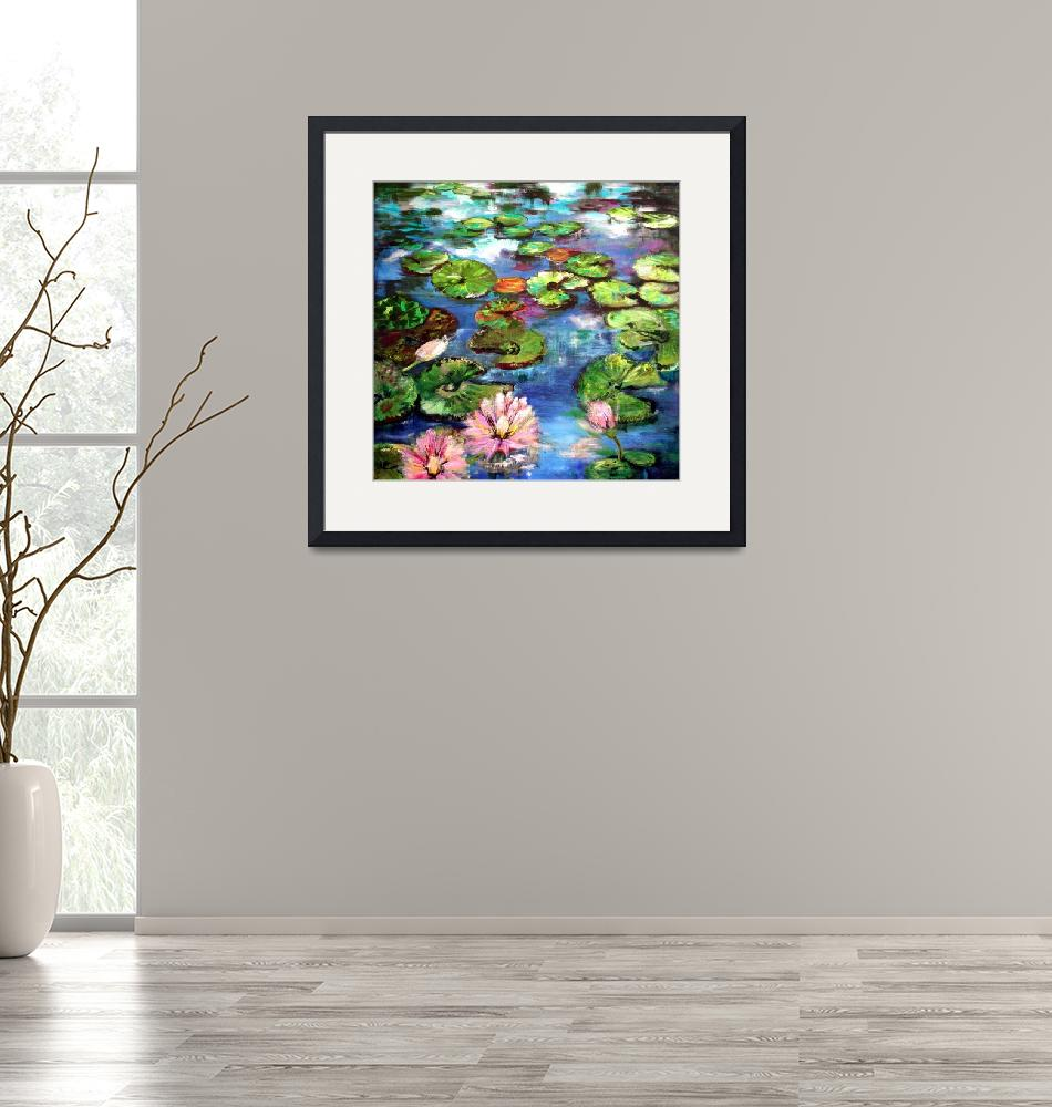 """""""Lily Pond Reflections Original Painting by Ginette""""  (2002) by GinetteCallaway"""