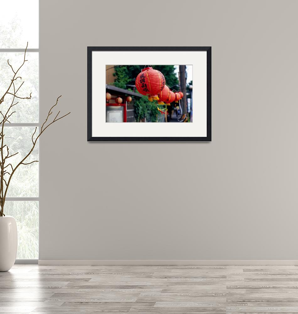 """""""Red Chinese Lanterns Blowing in the Wind""""  by dennisflood"""