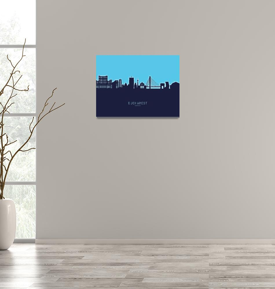 """Bucharest Romania Skyline""  (2020) by ModernArtPrints"