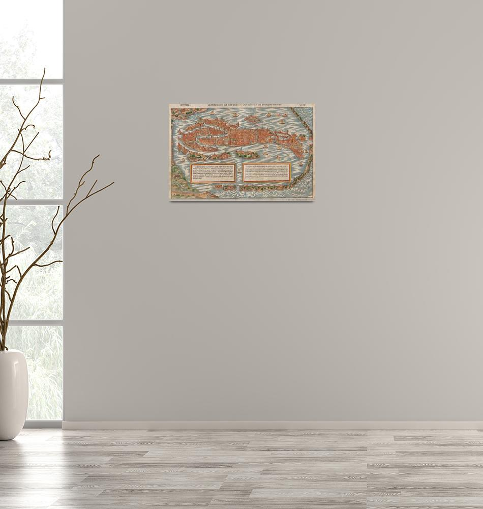 """""""Vintage Pictorial Map of Venice Italy (1550)""""  by Alleycatshirts"""