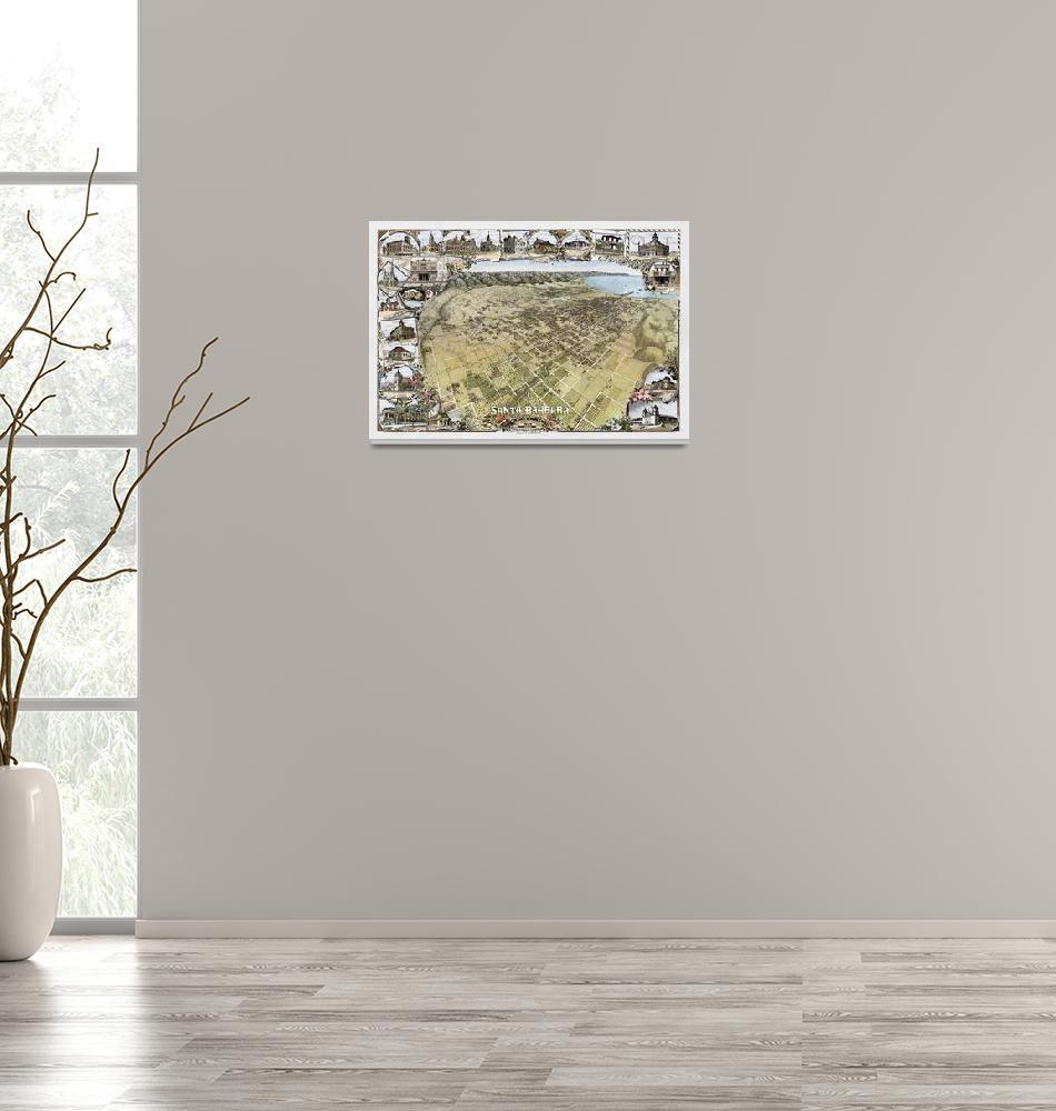 """Santa Barbara Aerial View 1898""  (2009) by lookbackart"