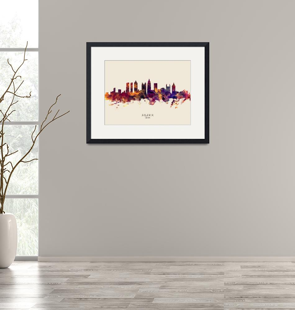 """Atlanta Georgia Skyline""  (2019) by ModernArtPrints"