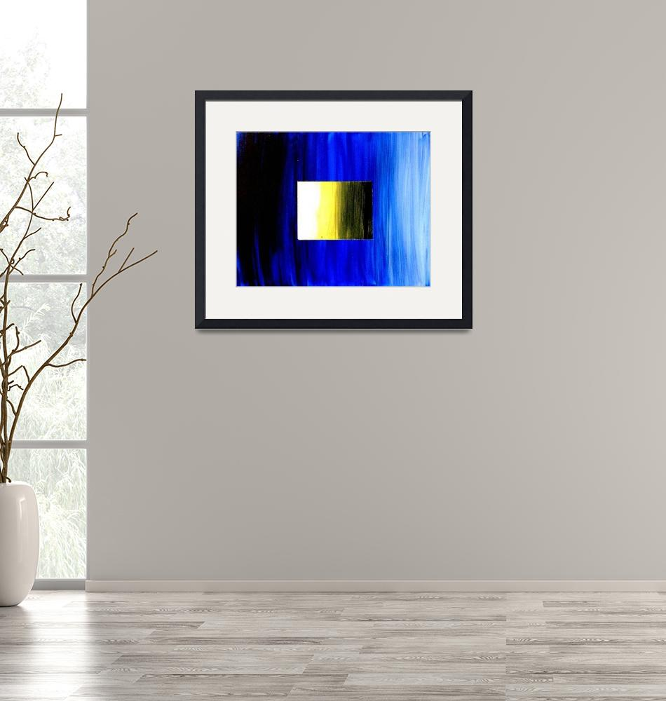 """""""ABSTRACT 3D BLUE GOLDEN SQUARE""""  (2006) by teofaith"""