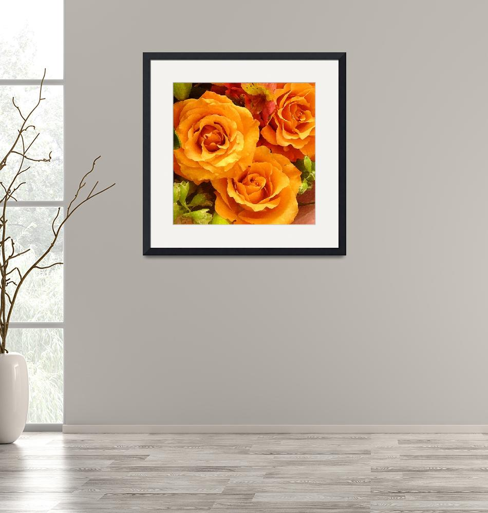 """""""Bouquet of Orange Roses Square"""" (2009) by AmyVangsgard"""