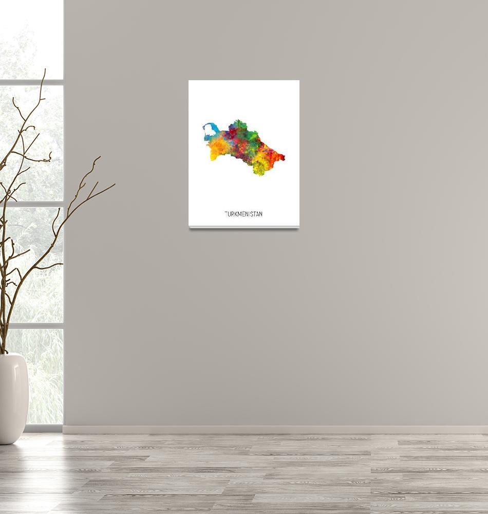 """Turkmenistan Watercolor Map""  (2019) by ModernArtPrints"