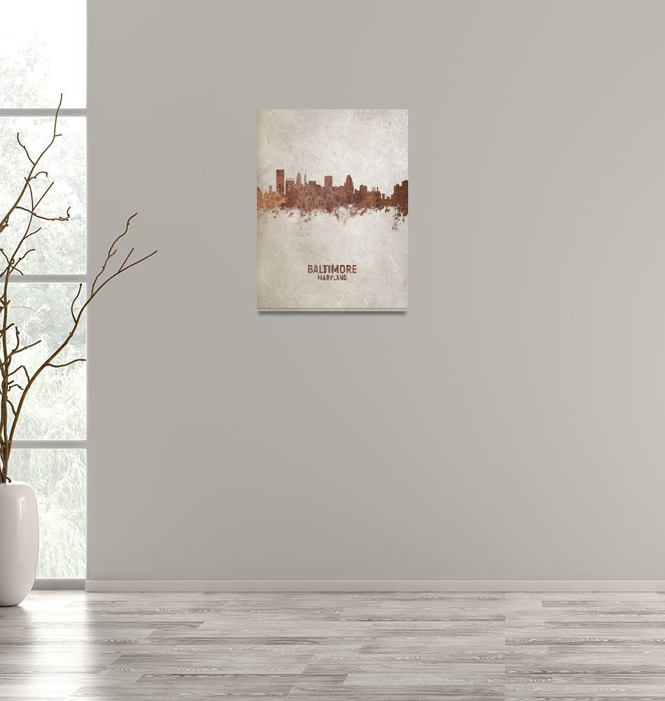 """Baltimore Maryland Rust Skyline""  (2018) by ModernArtPrints"