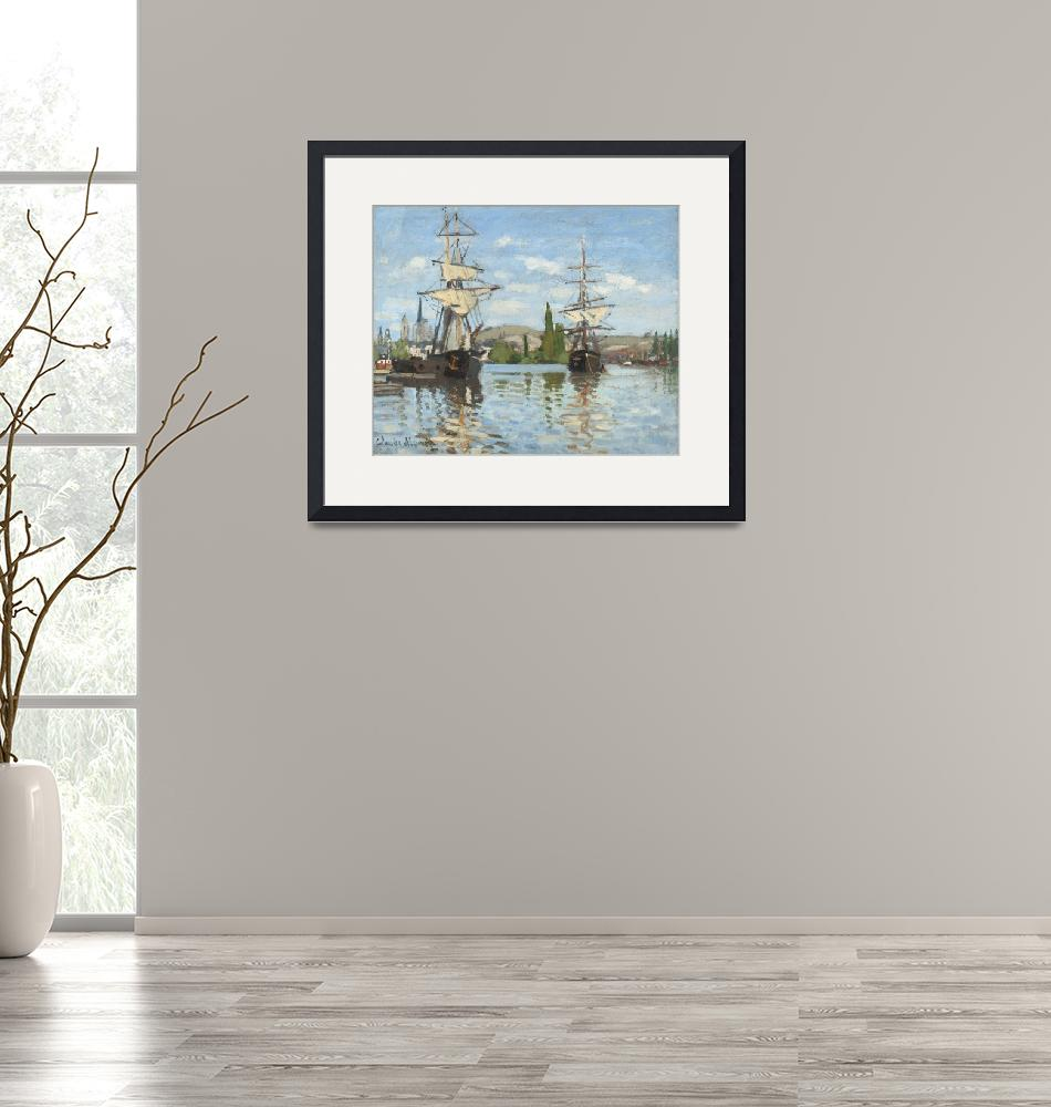"""Ships Riding on the Seine at Rouen by Claude Monet"" by FineArtClassics"