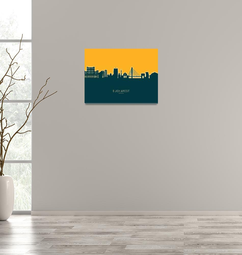 """Bucharest Romania Skyline""  (2020) by ModernArtPrints"