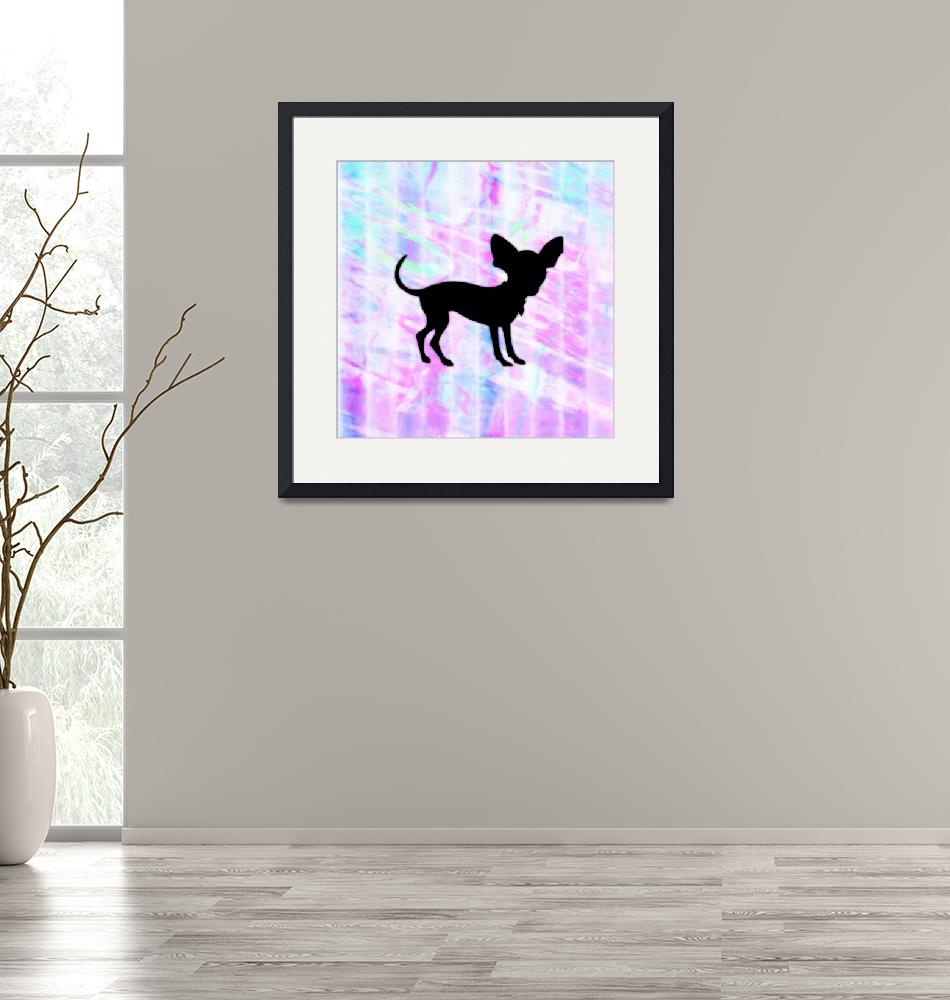 """""""Chihuahua Silhouette on Homespun Art""""  (2013) by SignaturePromos"""