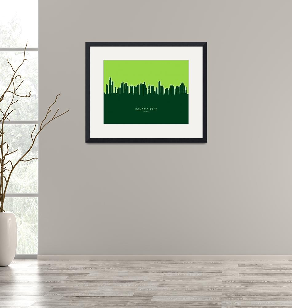 """Panama City Skyline""  (2020) by ModernArtPrints"