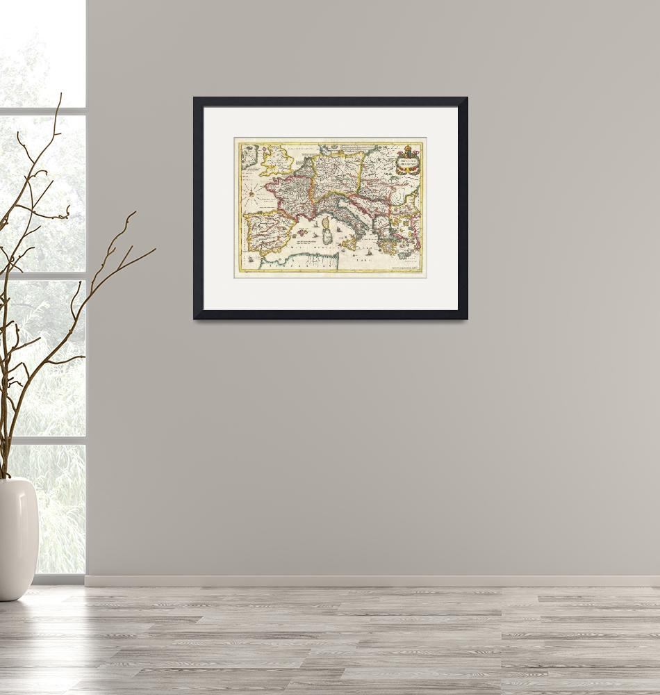 """""""Map of the Empire of Charlemagne by Jan Jansson""""  by FineArtClassics"""