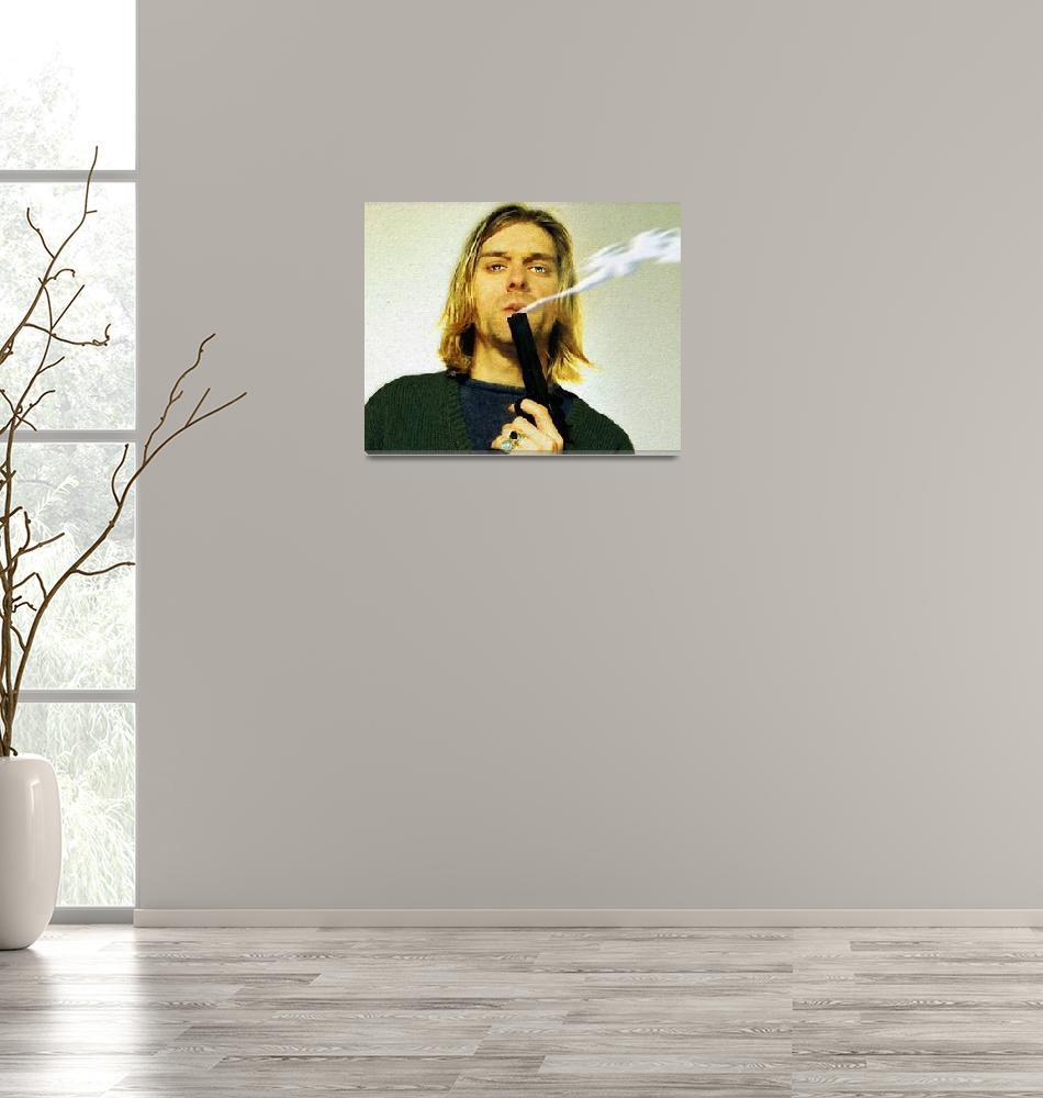 """""""Kurt Cobain Nirvana With Gun Painting Macabre 1""""  by RubinoFineArt"""