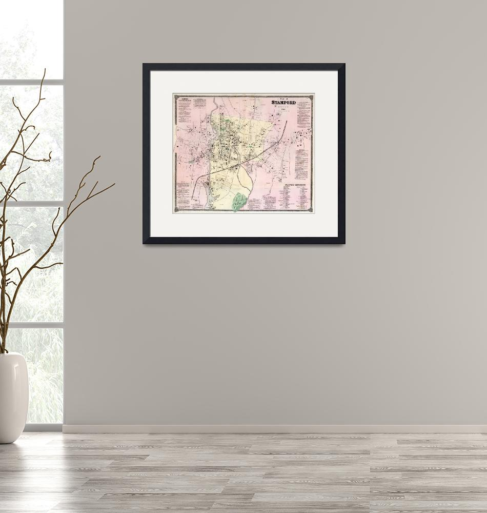 """""""Vintage Map of Stamford CT (1867)""""  by Alleycatshirts"""