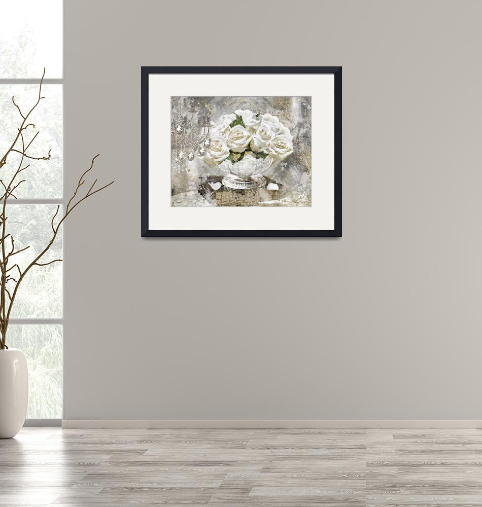 """""""White Gold Glitter Roses""""  (2018) by MindyDidIt"""