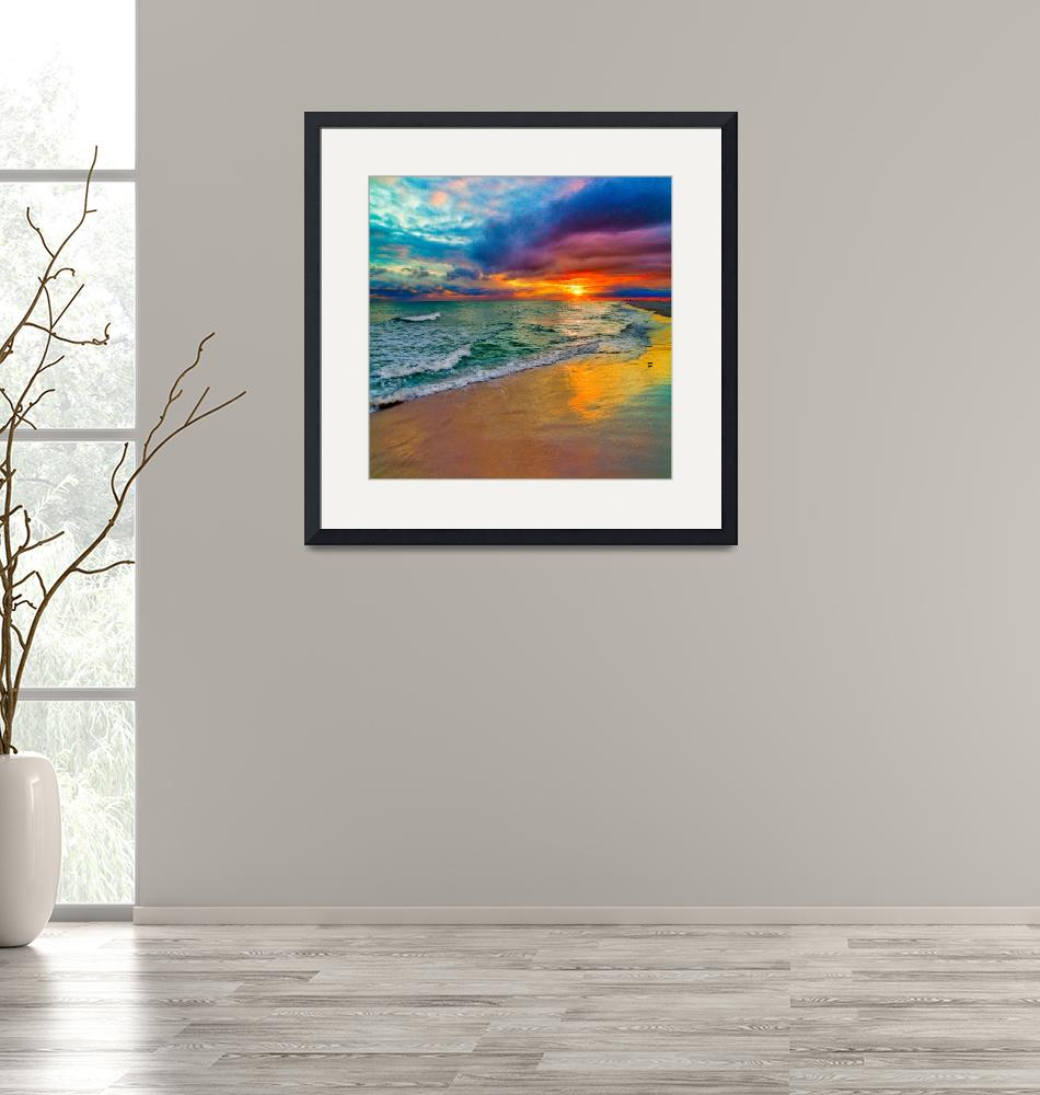 """""""Colorful Seascape-Swirling Multi Color Sunset Art""""  (2014) by eszra"""