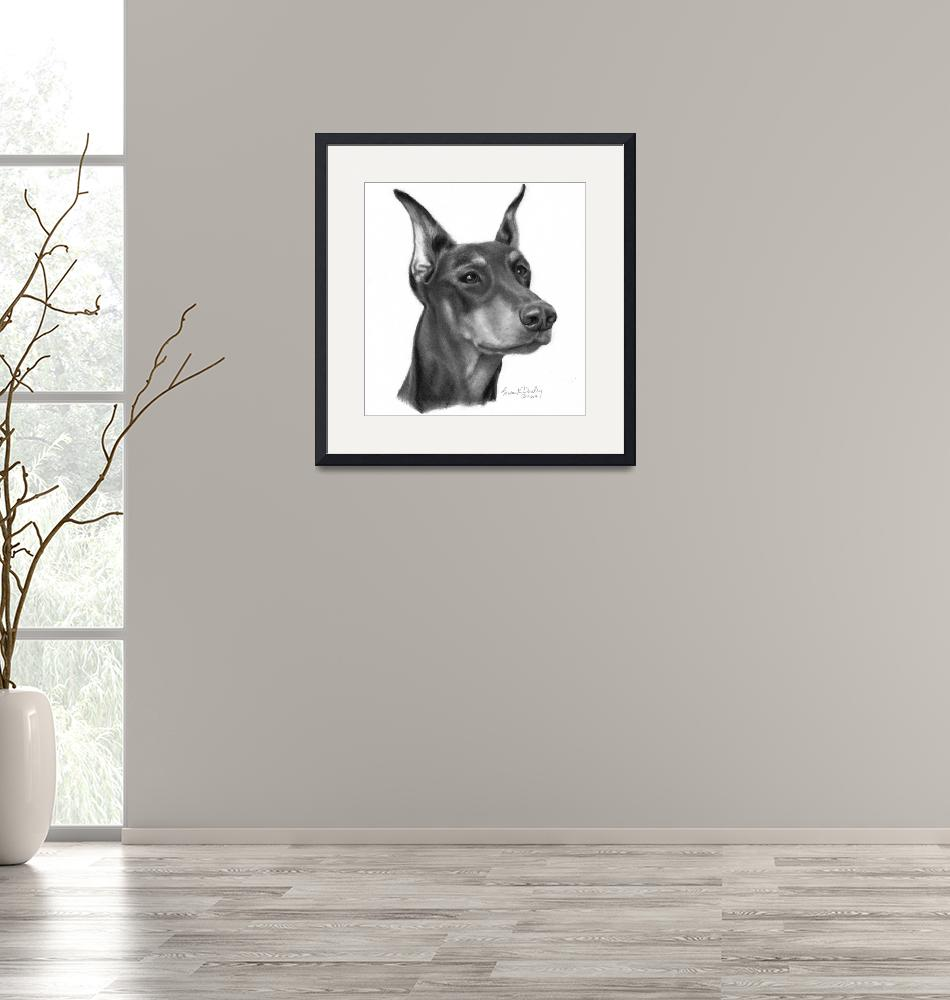 """""""Doberman Pinscher with Cropped Ears""""  (2007) by sdonley"""