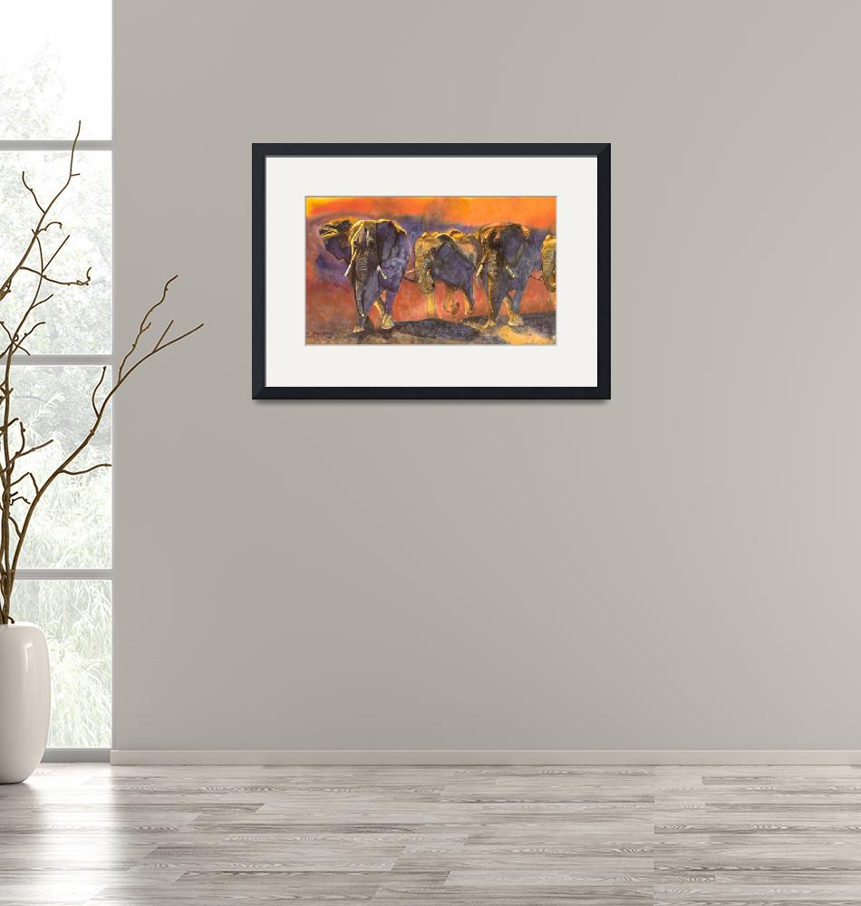 """""""Tanzanian Elephant Stampede merged giclee""""  by DianaNadalFineArt"""