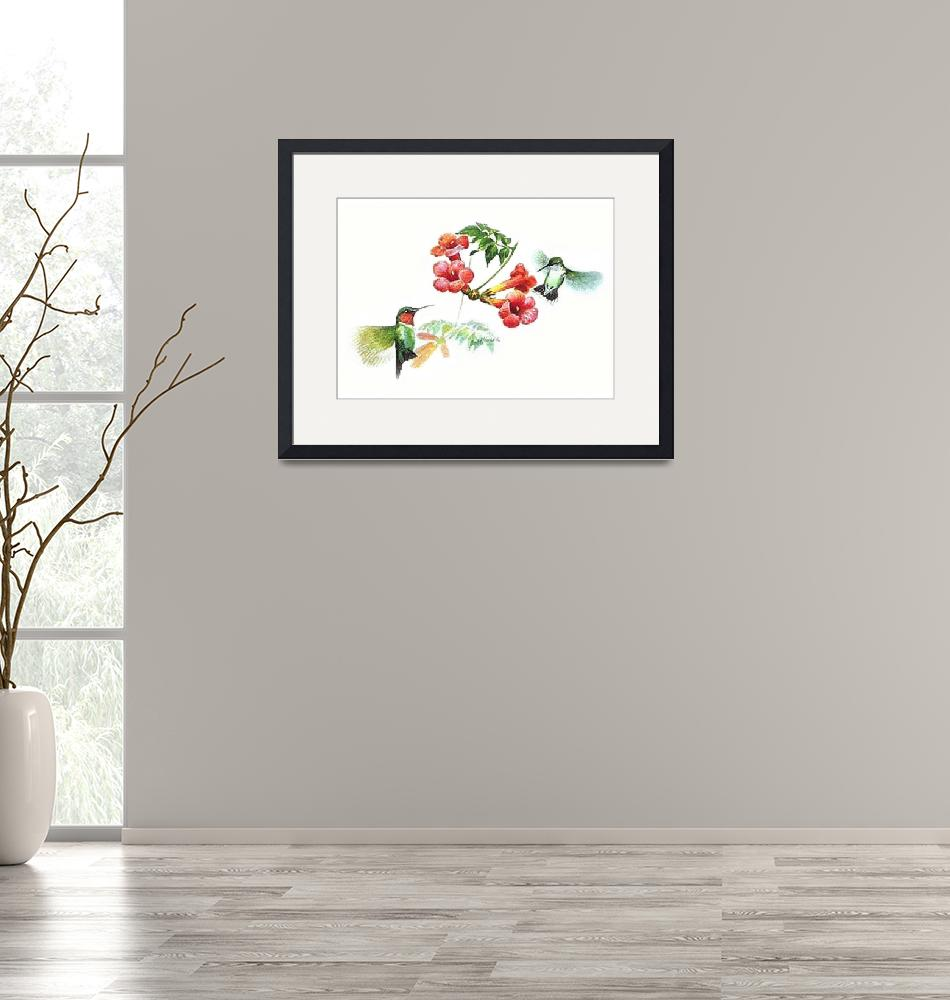 """""""Two Ruby-Throated Hummingbirds.""""  (2013) by SerenicArt"""