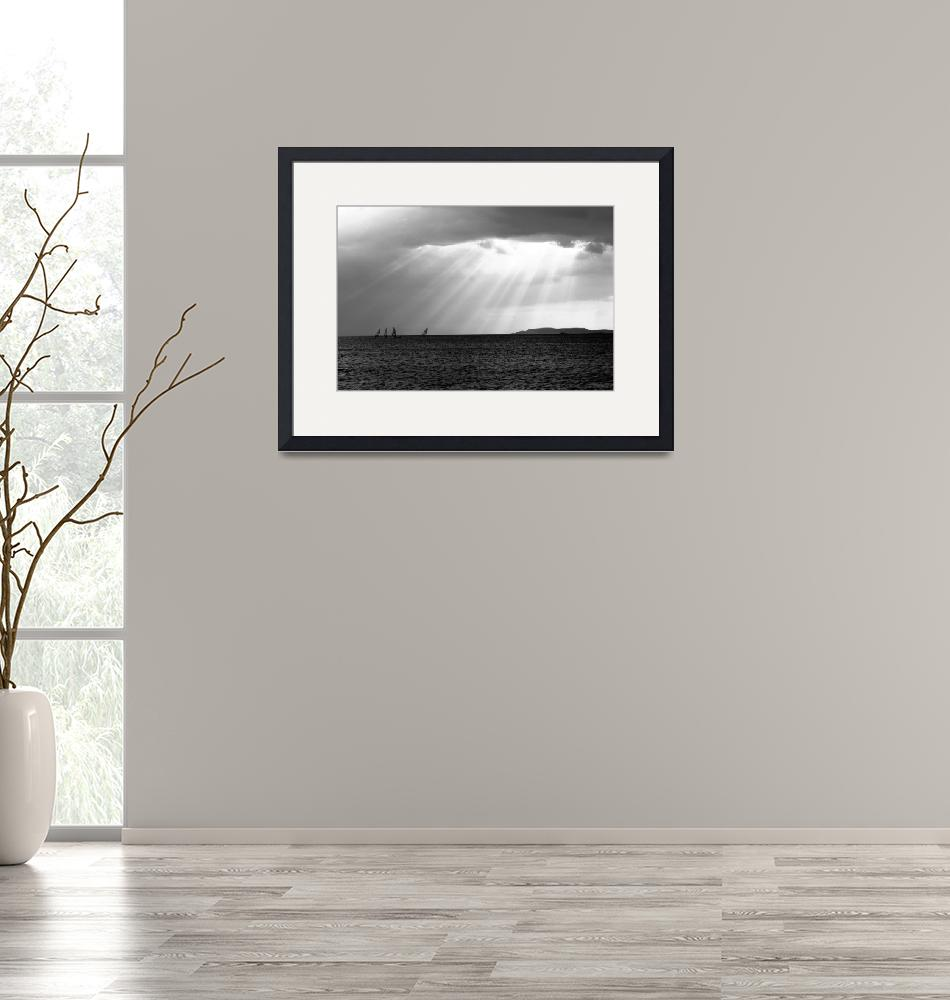 """""""black and white sunset and seascape"""" (2010) by Elenilou"""