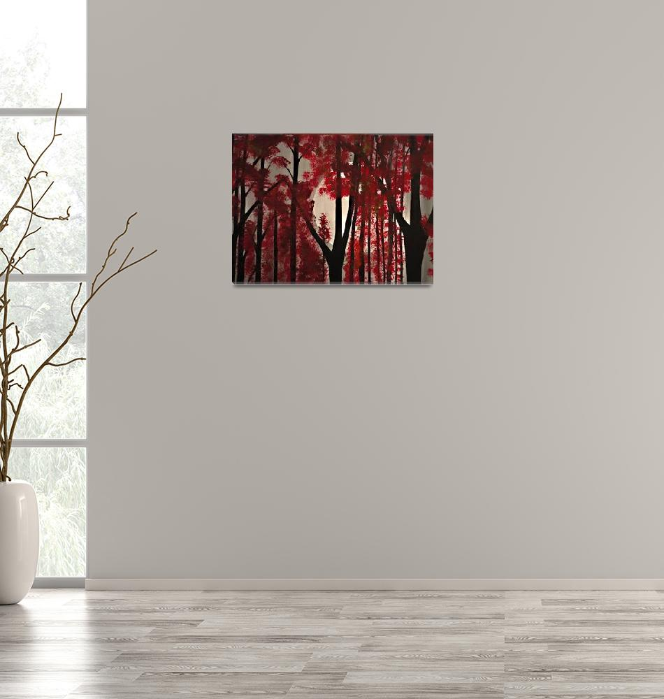 """""""The Lush red forest""""  (2015) by Rachelolynukart"""