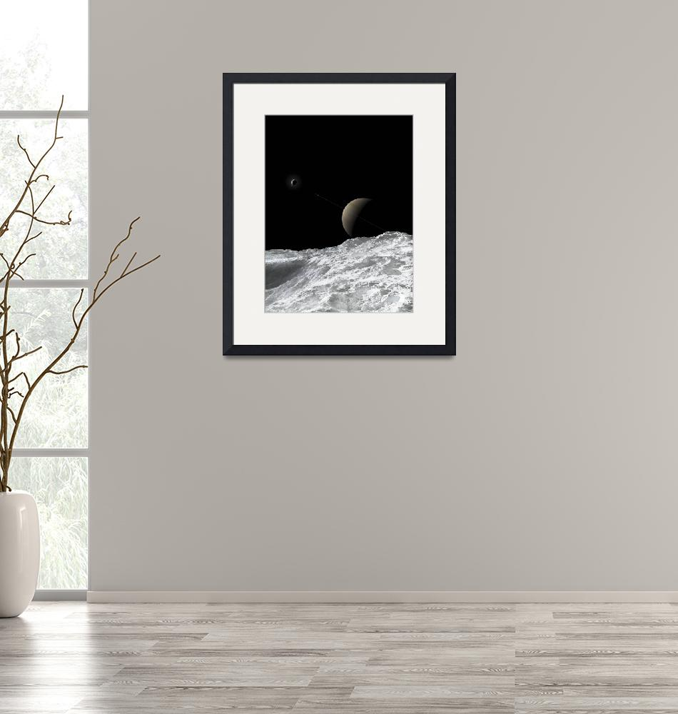 """""""Saturn and Enceladus as seen from the moon Tethys""""  by stocktrekimages"""