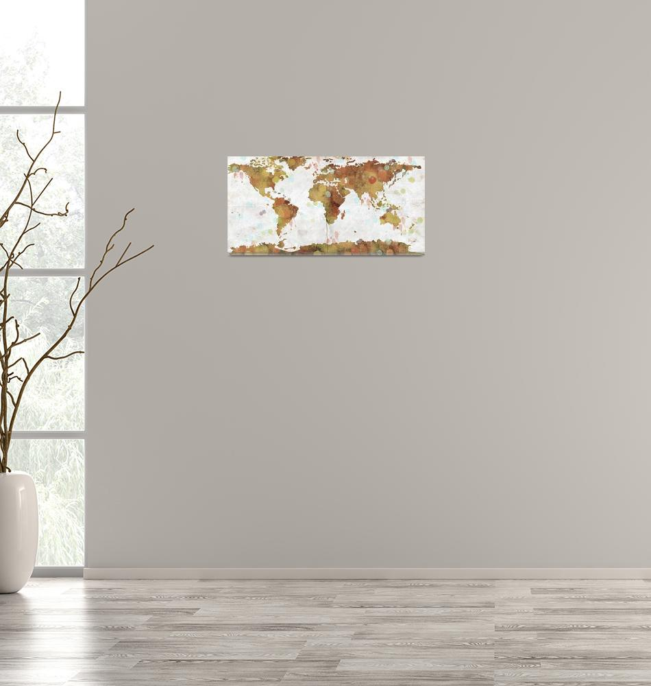 """""""World Map Watercolor 3""""  by WrightFineArt"""